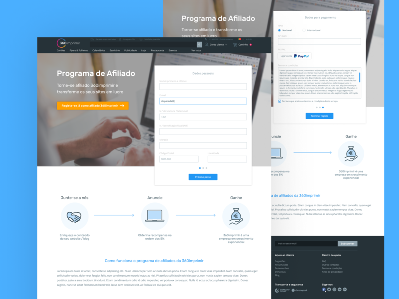 Afiliate Program Landing page blue ui portfolio landing page concept landing page ux product design