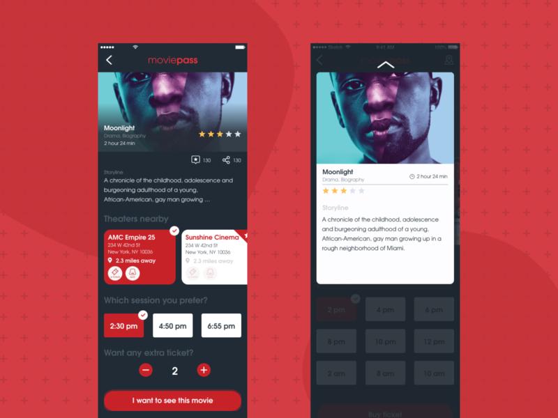 Moviepass app movie details redesign dark ui red ux ios app ios design ui portfolio