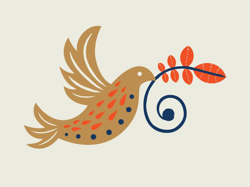 Folk Bird Illustration dove floral gold folk art bird illustration