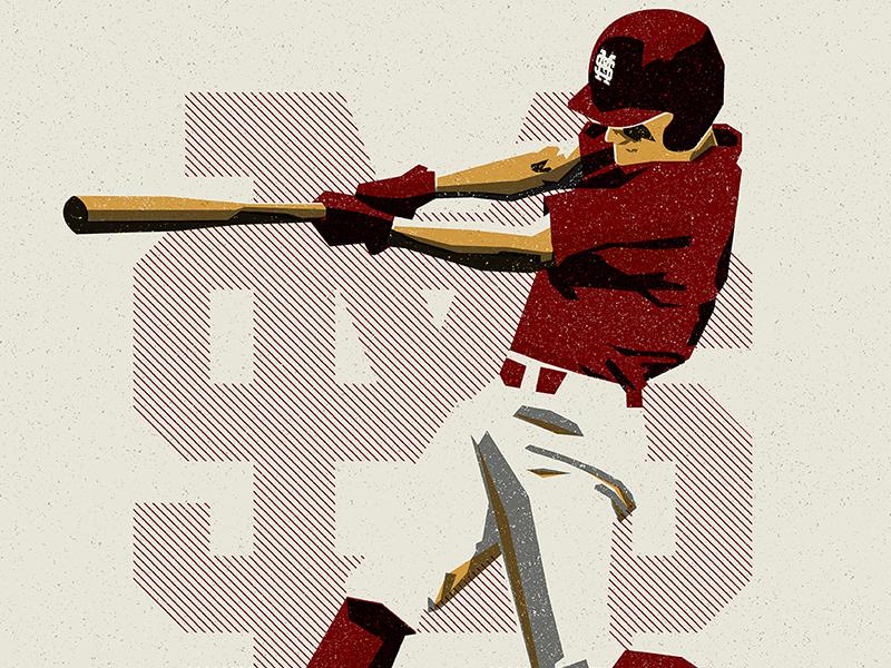 Mississippi State Baseball illustration baseball