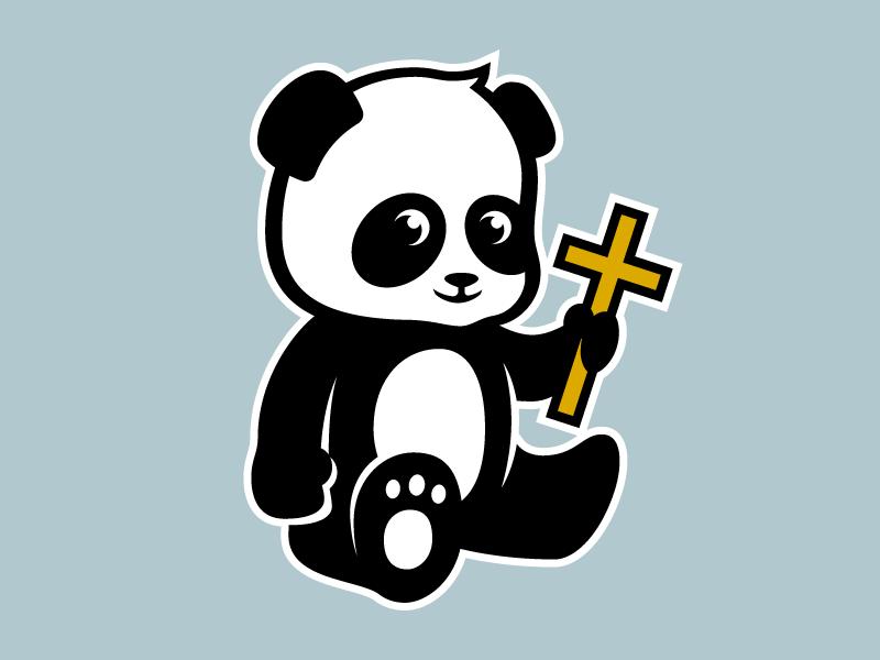 St. Edward School Panda icon panda bear bear black and white cross animal character catholic panda mascot illustration logo