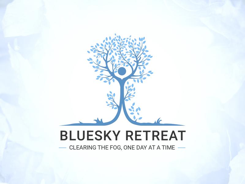 Bluesky Retreat branding design blue sky creative graphic design vector logo