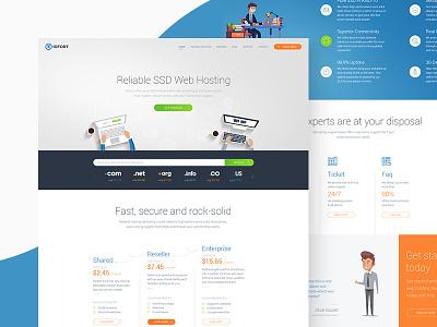 Hosting Homepage illustration design creative orange blue graphic  design ux ui web design hosting