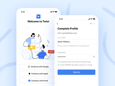 Twist Onboarding (iOS) onboarding login sign up app live project real work ux twist team remote interaction communication