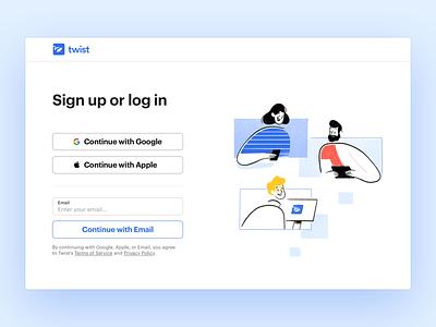 Twist Onboarding (Web) onboarding login sign up website web design web app live project real work ux twist team remote interaction communication