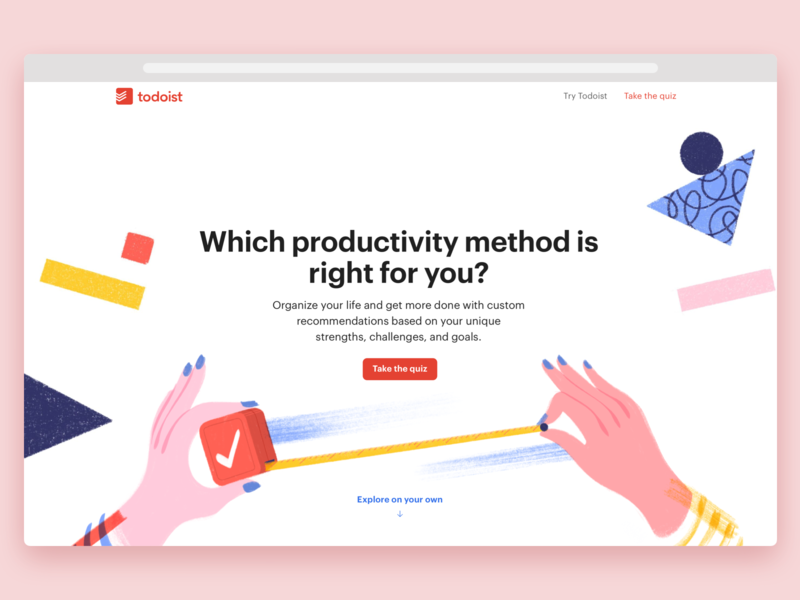 Todoist Productivity Methods website web design web marketing landing page illustration project real live app icon todoist task management todo productivity