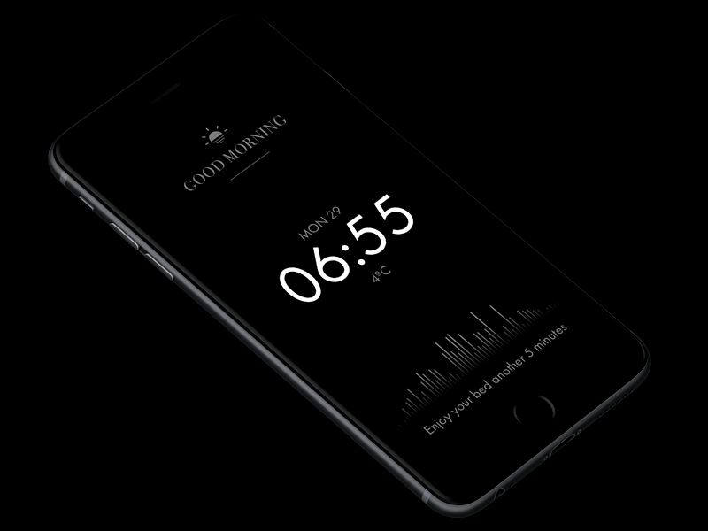 Awake App – A better wake-up experience alarm clock wake up app dark ui concept minimal sound design