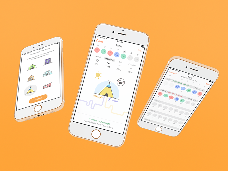 EDF Energy –App Concept smart home energy ribot app reatime data ios homescreen