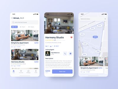 Real Estate app renting rentals rental house rent real estate agency realestate real estate agent app design real estate rent figma ux minimal app web ui design