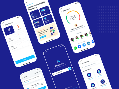 Medicos App UI Kit medicine doctor finder doctor app medical app android app ios design design interation design startup creative agency landing page uiux app design hospital