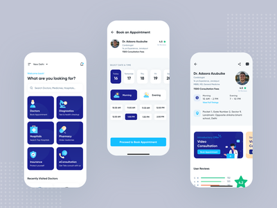 Medicos App UI Kit doctor app medicine order medical app hospital ui design android app ios design ios app uiux app design landing page interation design