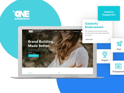 One Impression Landing Page Design celebrity endorsement branding building digital content videography photography influencer marketing interation design uiux landing page ui