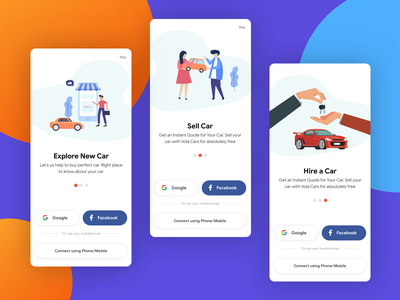 Vola Cars Onboarding minimal design ios design onboarding illustration onboarding screen app design onbaording