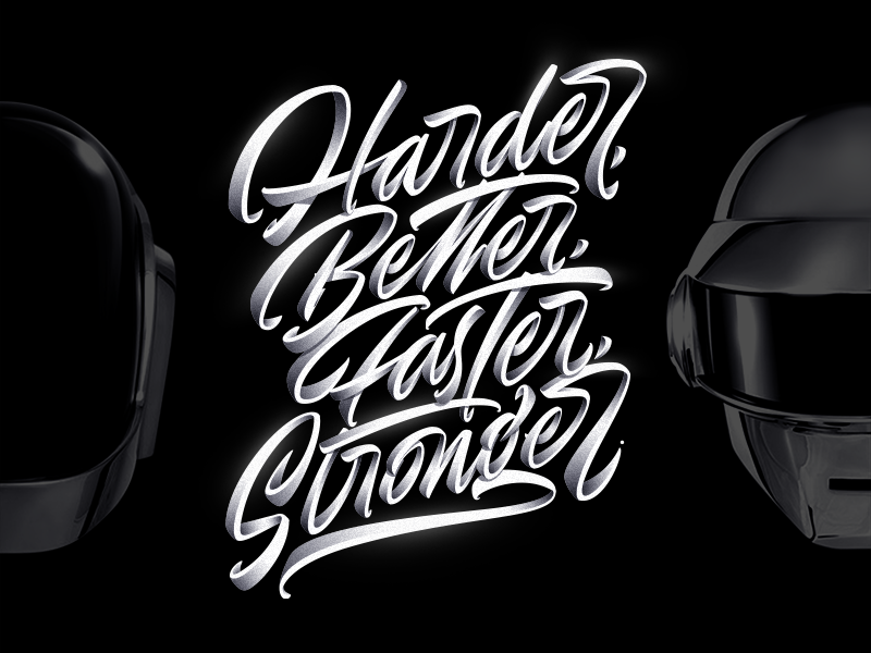 Daft Punk - Harder, Better, Faster, Stronger electro robot music lettering stronger faster better harder punk daft