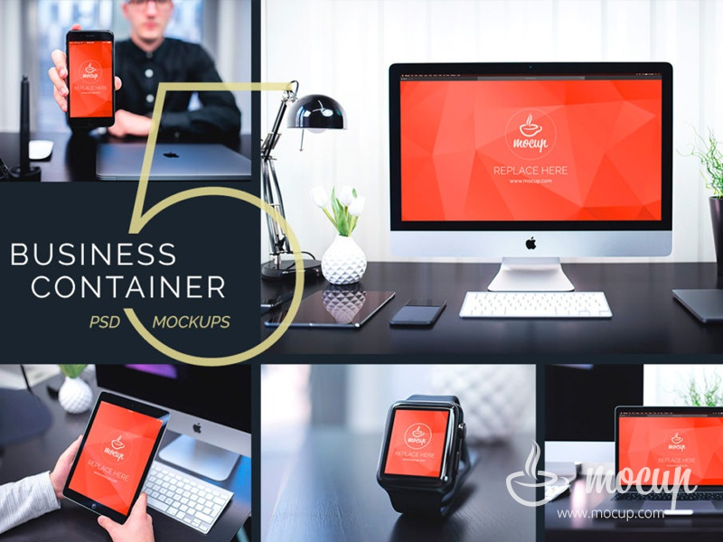 5 PSD Mockups Business Container iphone ipad watch macbook imac clear container mocup bundle mockup psd business