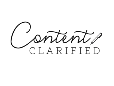 Content Clarified Logo script sans serif modern