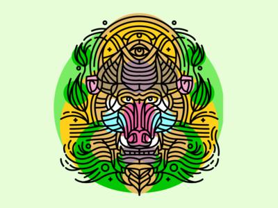 mandrill tattoo colored colored plants jungle monkey animal baboon mandrill tattoo linework