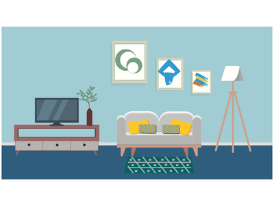 Living room minimal illustration design