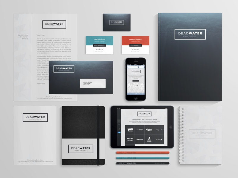 DEADWATER Branding stationery business card identity branding print