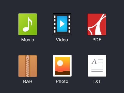 File Type filetypes icon music video pdf rar zip photo txt file flat