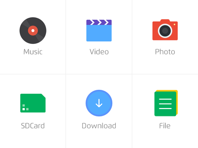 Icon filetype download photo video music color icon