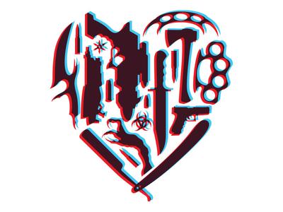 Hard Heart illustration branding logo icons weapons iconography