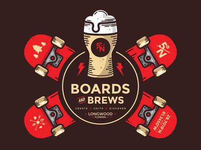 Board and Brews vector vectorart illustration graphic design streetrace brand branding logo