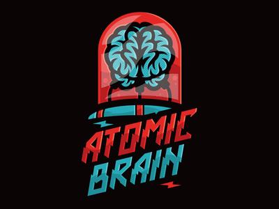 Atomic Brain vectorart illustration brain geeky scifi design branding logo