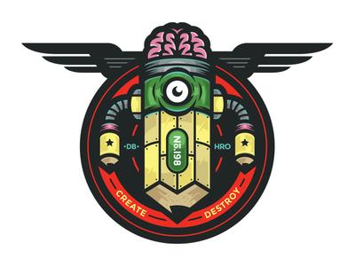 PencilBot vectorart illustration art geeky scifi design branding logo
