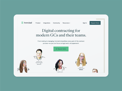 Ironclad has rebranded! gc lawyer legaltech legal fashion illustration editorial illustration portrait home page illustration brand expression brand identity branding design refresh redesign homepage rebrand