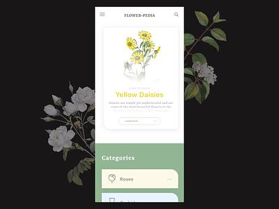 Flowerpedia - Application concept adobe xd branding transition interaction interaction design design animation ui