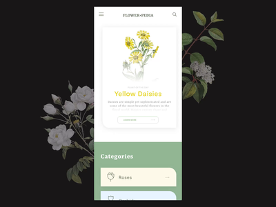 Flowerpedia - Application concept adobe xd branding transition interaction interaction design design animation ui