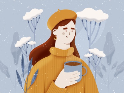 Winter winter tea snow character design character digital painting plants cold drawing yellow coffe woman beautiful potrait drawthisinyourstyle dtiys challenge illustration 2d