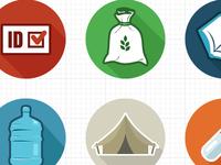 Flat Refugee Camp Icon set