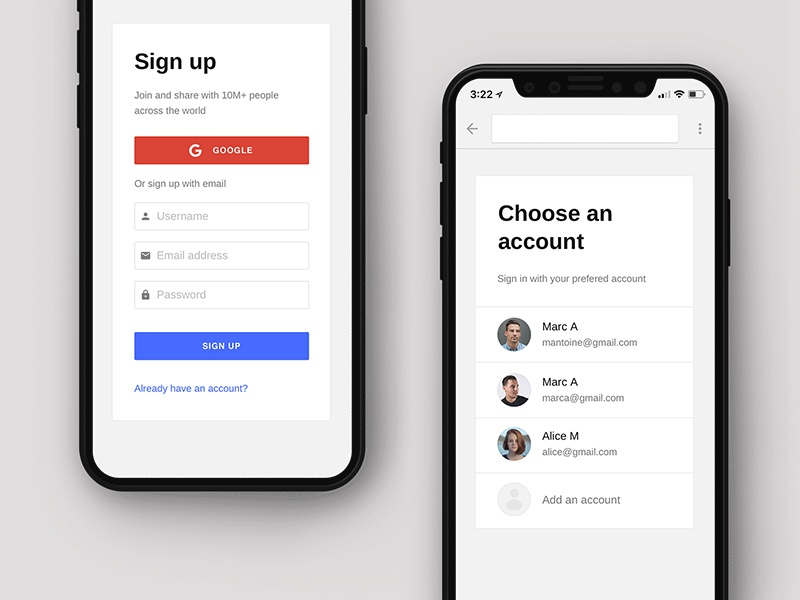 Sign in onboarding iphone x login signup sign in form