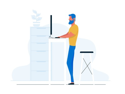 Working figure study vector character figure illustration