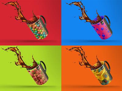 MUG's! cups mug design design collateral merch merchandise design graphic design identity design branding 3d redshift3d cinema 4d jazz festival jazz