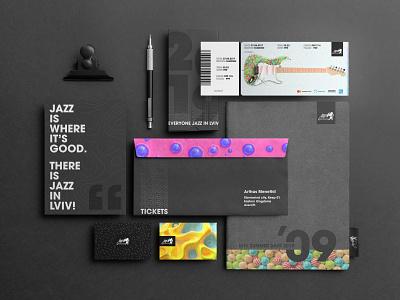 Festival Stationery 🎸 business card design envelope design tickets minimalistic identity festival brand brand identity stationery graphic design design 3d identity design branding redshift3d cinema 4d jazz festival jazz