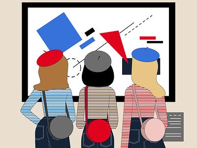 Art Museum Trip geometic flat minimal vector design illustration