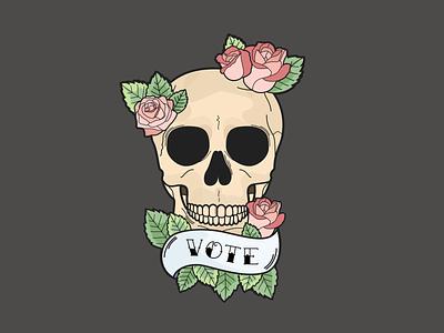 Vote or die roses skull illustration