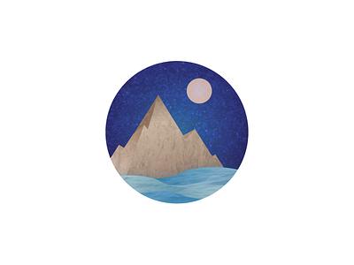 Texture circle mountains moon night landscape