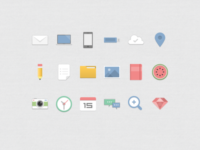 flat color icons icon flat mail cloud pen folder watermelon camera clock calendar magnifier ruby