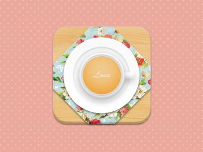 Tea Time! icon tea cup wood cloth love