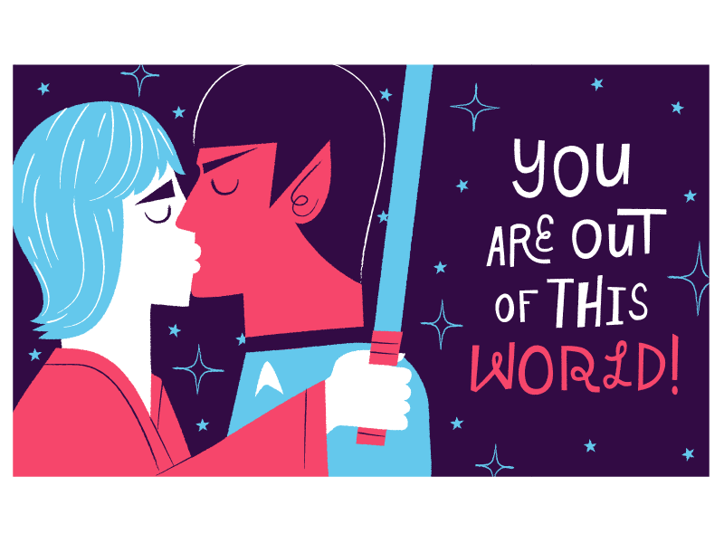 2015 Valentine's Cards! illustration valentines day spock luke skywalker star wars star trek kiss card e card valentine love