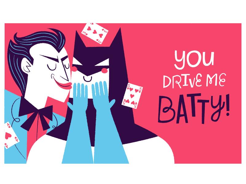 2015 Valentine's Cards! illustration valentines day batman joker dc comic books batty card e card valentine love