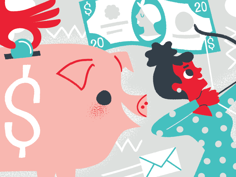 we mean business money tubman finance sales piggy bank business illustration illustria