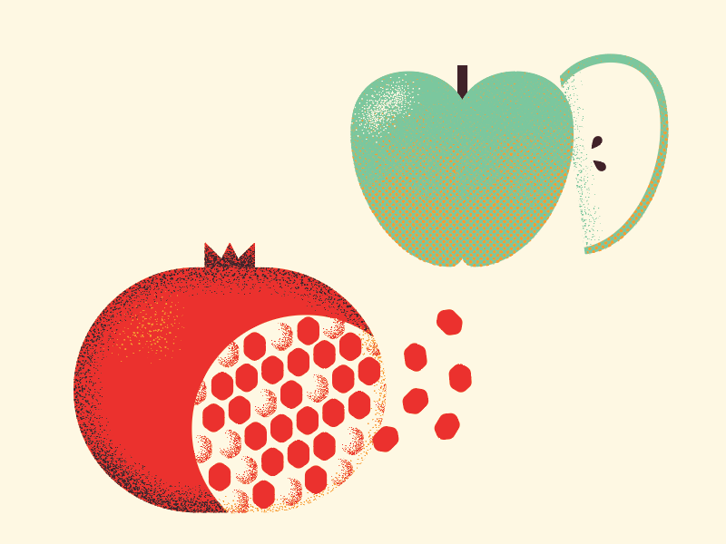 fall fruits fresh seeds smith granny fruit pomegranate apple fall autumn food illustration