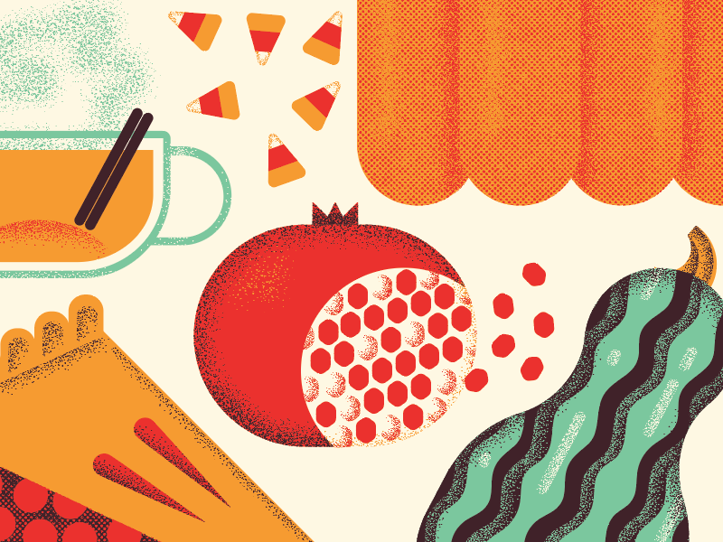 fall cuisine finale! candy corn cider pumpkin squash pomegranate pie fall autumn food illustration