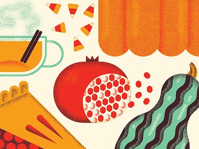 fall cuisine finale! candy corn cider pumpkin squash pomegranate pie fall autumn food illustration