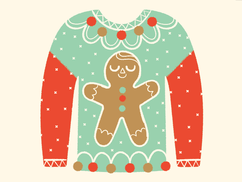 Ugly Sweater Day illustration knit shirt gingerbread festive ugly holiday christmas sweater